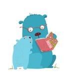 Bear parent reading book to kid Royalty Free Stock Photos