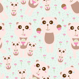 Bear pastel family seamless pattern Royalty Free Stock Images