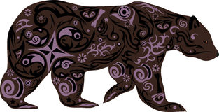 The bear with a pattern from flowers, an animal with drawing from lines, a bear goes forward, an illustration of a clumsy predator Stock Photos