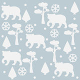 Bear Pattern with pines, spruce tees and snowflakes.   Royalty Free Stock Photography