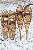 Bear Paw and Huron snowshoes Stock Photos