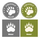 Bear Paw Print Circle Logo Design Concept. Collection. Isolated On White Background Stock Photos