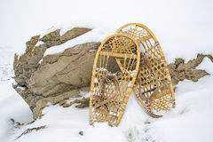 Bear Paw snowshoes badlands sandstone winter Stock Image