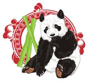 Bear peek up frompatten with food. Panda stick outfrom large red patten with green bamboo Stock Images