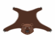 Bear pelt. Big brown bear Grizzly hide. Hunting trophy. Vector i. Llustration Royalty Free Stock Photo