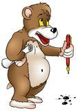 Bear with Pen Royalty Free Stock Image