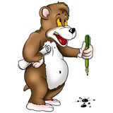 Bear with pen Stock Photography
