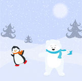 Bear and penguin. Royalty Free Stock Photography