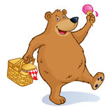 Bear with Picnic Basket and Ice Cream Cone Stock Images