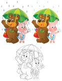 Bear and Piglet under the green umbrella Stock Photos