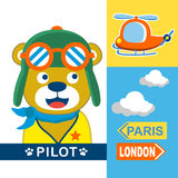 Bear pilot. Cute bear pilot go adventure with helicopter Stock Photography