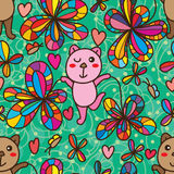Bear play with flower seamless pattern vector illustration