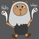 Bear play Hallo Ween. Illustration abstract bear play toy Hallo Ween grey color background graphic object element. Happy Halloween Royalty Free Stock Photography