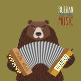 Bear playing accordion.  Russian national musical instrument. Royalty Free Stock Photos