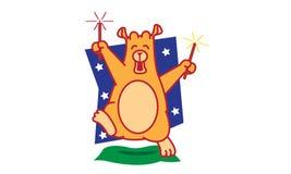 Bear Playing Firework. Illustration of bear playing firework Royalty Free Stock Photo