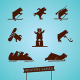 Bear playing winters games. Sport icons set. Bear playing winters games royalty free illustration