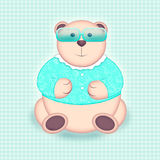 Bear portrait in sunglasses. Bear in sunglasses in mint green tones Stock Images