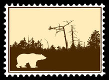 bear on postage stamps stock illustration