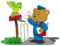 Bear postman trying to put letter to mailbox Royalty Free Stock Photo