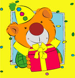 Bear presenting a gift Royalty Free Stock Images