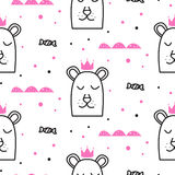 Bear princess line fun seamless pattern for kids and babies. Stock Photo