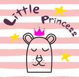 Bear princess t-shirt design for kids and babies. Royalty Free Stock Photography