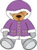 Bear in purple coat. Cute Bear sitting in purple coat Royalty Free Stock Image