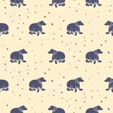 Bear purple and pastel pink tribal seamless vector patterns. Royalty Free Stock Images