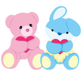 Bear and Rabbit Baby Toys Vector. Soft-toy Bear and Rabbit are lovely hugging hearts.  This  is isolated on white background Stock Photo