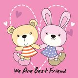Bear and rabbit with love background royalty free stock photo