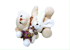 Bear and rabbit lying Royalty Free Stock Image