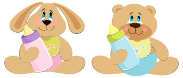 Bear and rabbit toys Royalty Free Stock Images