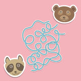 Bear raccoon labyrinth game for Preschool Children. Vector Royalty Free Stock Photography