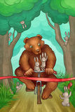 Bear is racing on bicycle in the forest Stock Photography