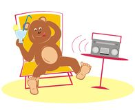 Bear and radio Royalty Free Stock Photo