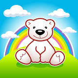 Animated toy vector Teddy bear. Toy bear sitting on meadow under rainbow and clouds vector logo. Ad or illustration for toys shop or book of tales. Greeting Stock Photography