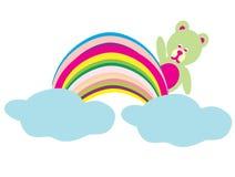 Bear on a rainbow. Illustration of isolated cartoon burger on white background royalty free stock photos