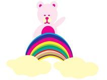 Bear on a rainbow. Illustration of isolated cartoon burger on white background stock image