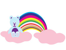 Bear on a rainbow. Illustration of isolated cartoon burger on white background stock photography