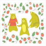 Bear and raspberry Stock Photos