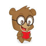 Bear reading a book. Clipart picture of a bear cartoon character reading a book Stock Photos