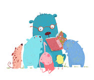 Bear Reading Book for Group of Animal Kids Stock Photos