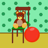 Bear and red ball Stock Images