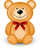Bear with red bow Stock Photos
