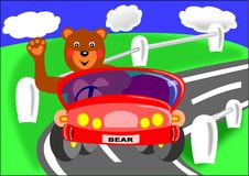 Bear and red car. Bear car blue grass green children clouds hello stock illustration