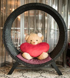 The Bear and red heart Stock Photography