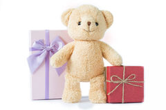 Bear doll with red and purple gift box on white background isolated. Royalty Free Stock Photos