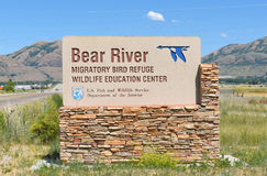 Bear River Migratory Bird Refuge. BRIGHAM CITY, UTAH - JUNE 28, 2017: Bear River Migratory Bird Refuge sign. The refuge encompasses the Bear River and its delta stock image