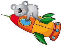 Bear on a rocket Stock Images