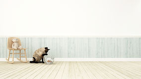 Bear on rocking chair and cat playing with cowfish-3D rendering. For blackground Stock Photo